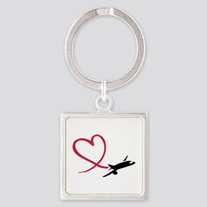 Airplane red heart Square Keychain