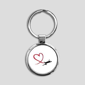 Airplane red heart Round Keychain