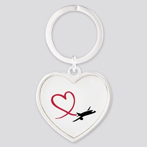 Airplane red heart Heart Keychain
