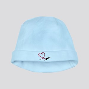 Airplane red heart baby hat