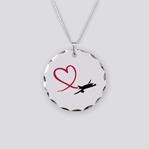 Airplane red heart Necklace Circle Charm
