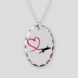 Airplane red heart Necklace Oval Charm