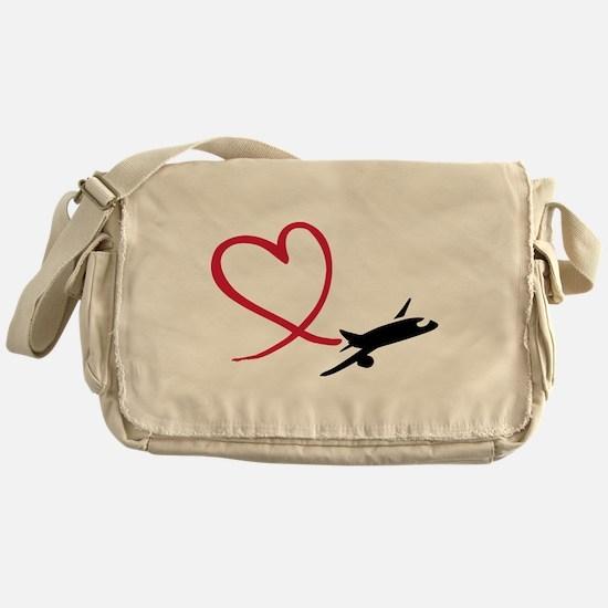 Airplane red heart Messenger Bag