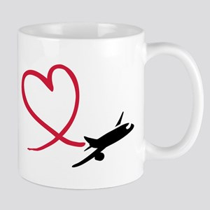 Airplane red heart Mug