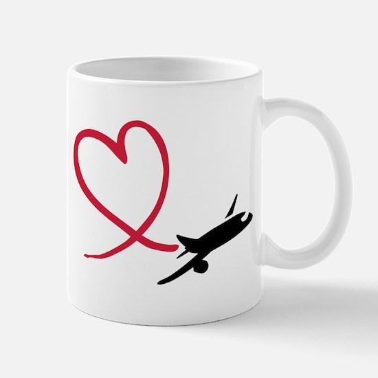 Airplane red heart Mug