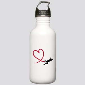 Airplane red heart Stainless Water Bottle 1.0L