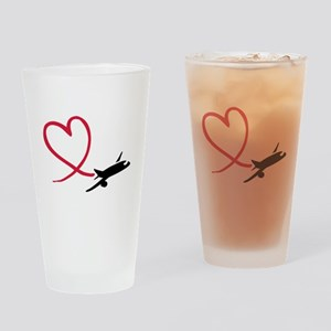 Airplane red heart Drinking Glass