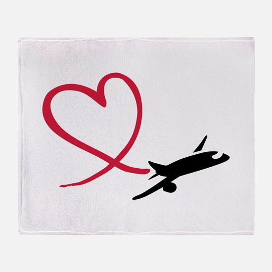 Airplane red heart Throw Blanket