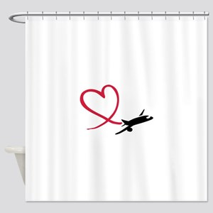 Airplane red heart Shower Curtain