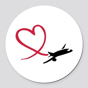 Airplane red heart Round Car Magnet