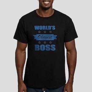 World's Okayest Boss Men's Fitted T-Shirt (dark)