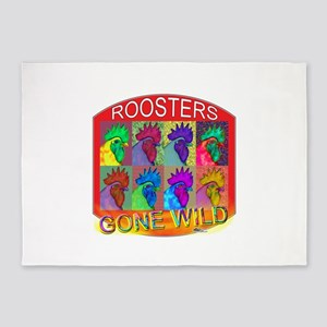 Roosters Gone Wild #3 5'x7'Area Rug
