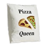 Pizza Queen Burlap Throw Pillow