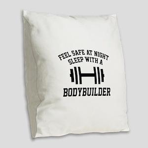 Feel Safe At Night Burlap Throw Pillow