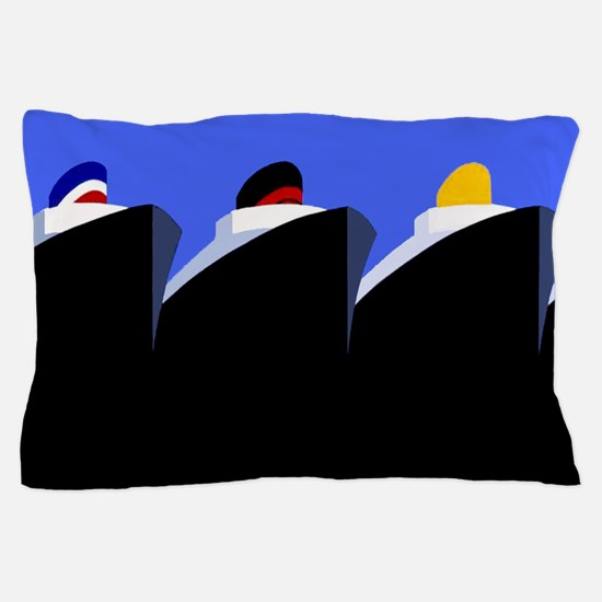 Vintage Cruise Ships Poster Ocean Liners Pillow Ca