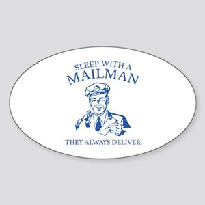 Sleep With A Mailman Sticker (Oval)