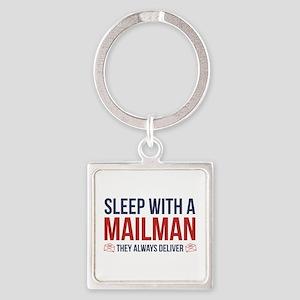 Sleep With A Mailman Square Keychain