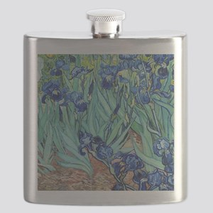 Iris, Vincent van Gogh. Vintage floral oil p Flask