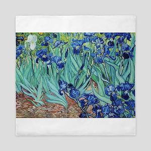 Iris, Vincent van Gogh. Vintage floral Queen Duvet