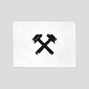 Crossed Hammers 5'x7'Area Rug
