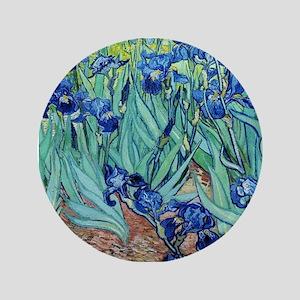 """Iris, Vincent van Gogh. Vintage floral 3.5"""" Button"""