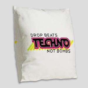 Beats Not Bombs Burlap Throw Pillow