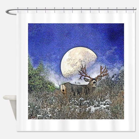 Trophy mule deer buck Shower Curtain