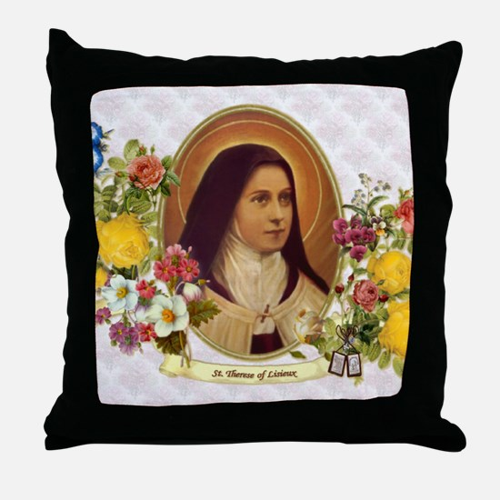 St. Therese Little Flower Throw Pillow