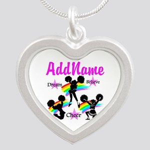 CHEERING GIRL Silver Heart Necklace