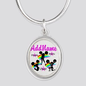 CHEERING GIRL Silver Oval Necklace