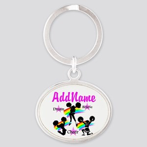 CHEERING GIRL Oval Keychain