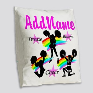 CHEERING GIRL Burlap Throw Pillow