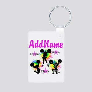 CHEERING GIRL Aluminum Photo Keychain