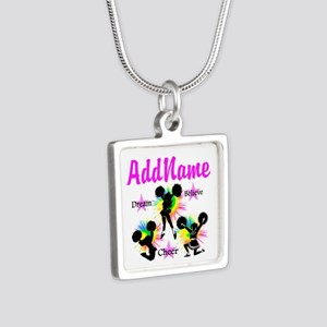CHEERING GIRL Silver Square Necklace
