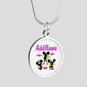 CHEERING GIRL Silver Round Necklace