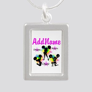 CHEERING GIRL Silver Portrait Necklace