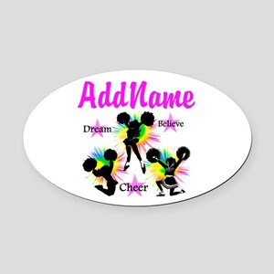 CHEERING GIRL Oval Car Magnet