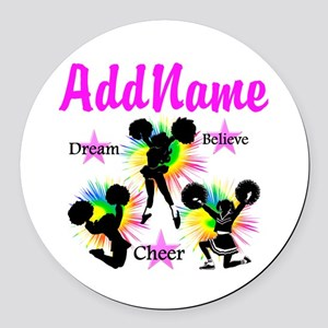 CHEERING GIRL Round Car Magnet