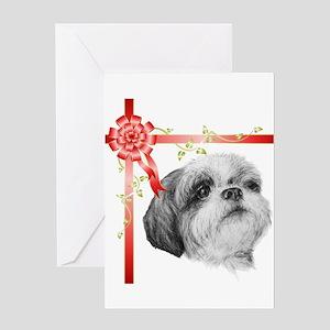 Christmas Present Shih Tzu Greeting Cards
