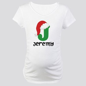 Christmas Santa Hat J Monogram Maternity T-Shirt