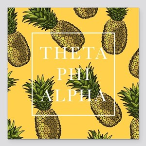 "Theta Phi Alpha Pineappl Square Car Magnet 3"" x 3"""