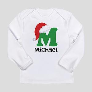 Christmas Santa Hat M Monogram Long Sleeve T-Shirt