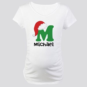 Christmas Santa Hat M Monogram Maternity T-Shirt