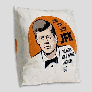 JFK Recipe Burlap Throw Pillow