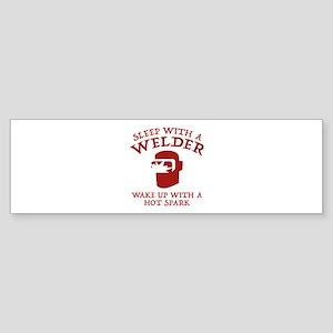 Sleep With A Welder Sticker (Bumper)