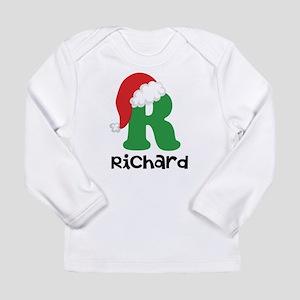 Christmas Santa Hat R Monogram Long Sleeve T-Shirt