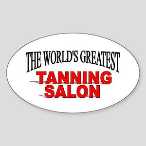 """The World's Greatest Tanning Salon"" Sticker (Oval"