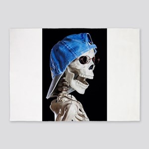 Skinney Skeleton Head Shot 5'x7'Area Rug