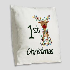 First Christmas Reindeer Burlap Throw Pillow