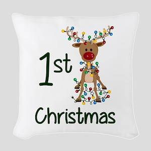 First Christmas Reindeer Woven Throw Pillow